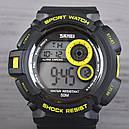 Часы Skmei Мод.1222 (подсветка: 7 цветов), черный-желтый, в металлическом боксе, фото 3