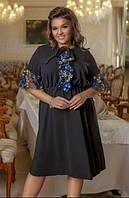 Платье черное с вышивкой с 44-58 размер, фото 1