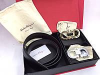 Мужской брючной ремень в стиле Salvatore Ferragamo (1001) подарочный набор