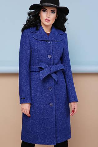Женское шерстяное пальто с английским воротом, синее, р.44, фото 2