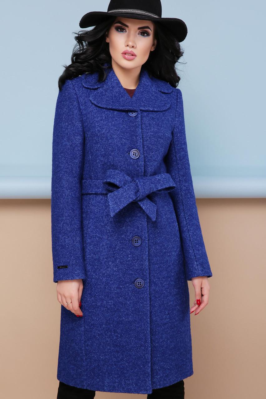 Женское шерстяное пальто с английским воротом, синее, р.44
