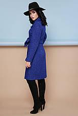 Женское шерстяное пальто с английским воротом, синее, р.44, фото 3