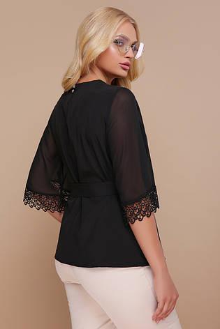 fdc099a6a5a Стильная черная блузка с широкими рукавами и кружевом Карла-Б д р большие  размеры