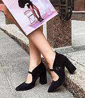 Замшевые женские туфли Loyana (чёрные и синие), фото 1