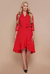 Ошатне червоне плаття з запахом і воланами Олеся-Б д/р більші розміри
