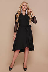 Чорна сукня на запах з мереживом і воланами Олеся-Б д/р більші розміри