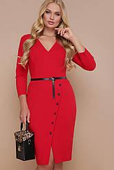 Елегантне офісне червоне плаття міді приталене з розрізом спереду Элария-Б д/р більші розміри
