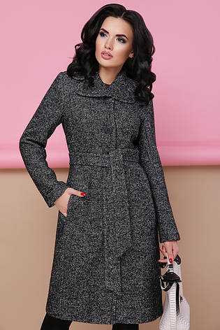 Женское шерстяное пальто с английским воротом, темно-серое, р.42,44, фото 2