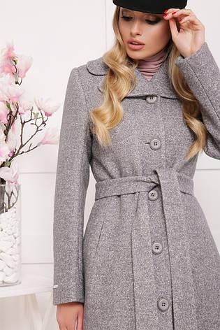 Женское шерстяное пальто с английским воротом, серое, р.42, фото 2