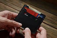 Зажим для купюр кожаный Card Holder чёрный, фото 1