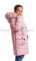 Модная зимняя куртка парка  для девочки интернет магазин  34-40 розовый
