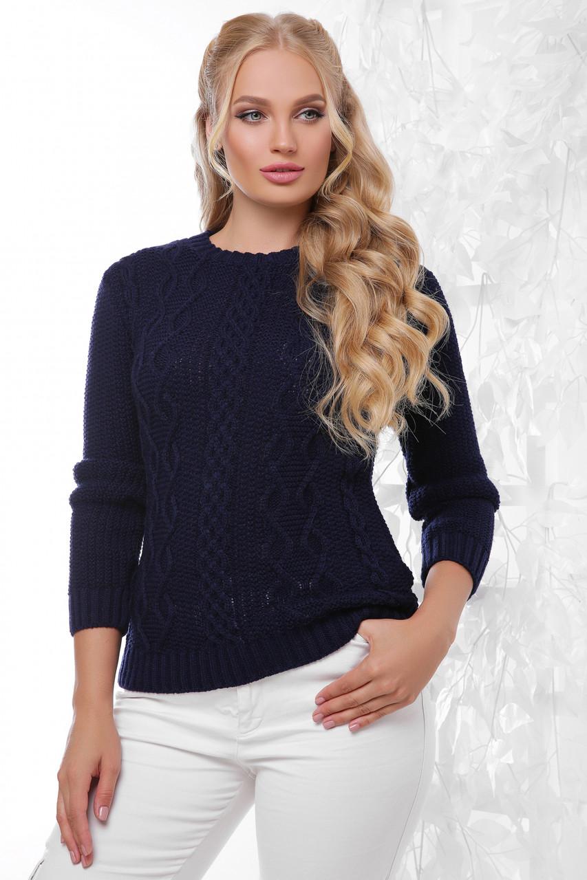 Жіночий в'язаний светр з візерунком однотонний темно-синій великий розмір