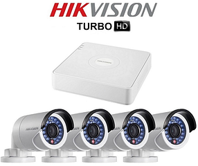 Комплект відеоспостереження Hikvision Turbo HD 4-камери зовнішні