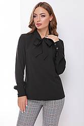 Стильная женская деловая блузка с бантом на шее, длинный рукав черная