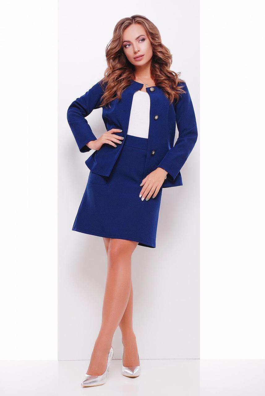 Классическая женская юбка-трапеция выше колен синяя