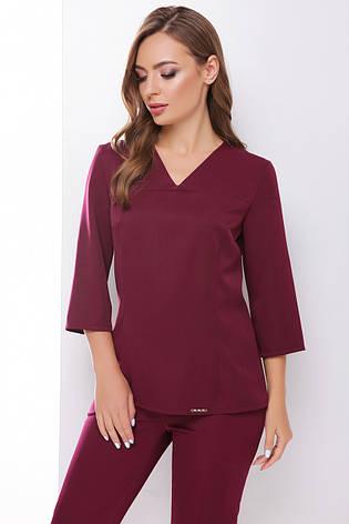 Элегантная блузка в деловом стиле с V-образной горловиной цвет баклажановый, фото 2