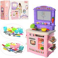 Кухня детская игровой набор с краном из которого течет вода и с досточкой для рисования в виде моркови