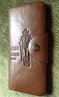 Кошелек мужской бумажник визитница Bailini длинный с ковбоем без вырезов (Уценка 50%)