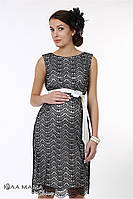 """Изысканное вечернее гипюровое платье для беременных """"Bohemia"""", черный гипюр на молочном атласе, фото 1"""