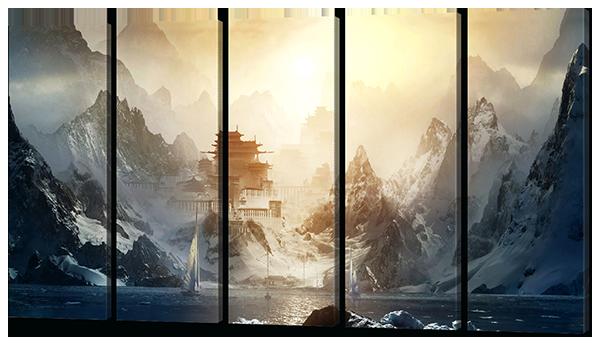 Модульная картина Горы. Восход. Восточный храм.