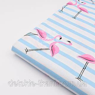 "Лоскут ткани №1390 ""Фламинго на голубой полоске"""