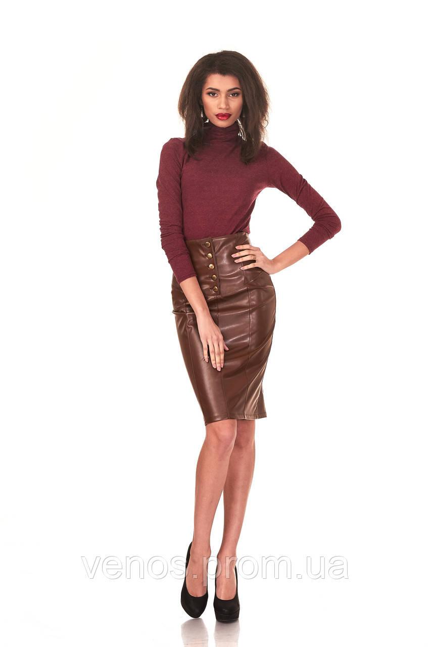 Классическая юбка с баской под кожу. Ю048