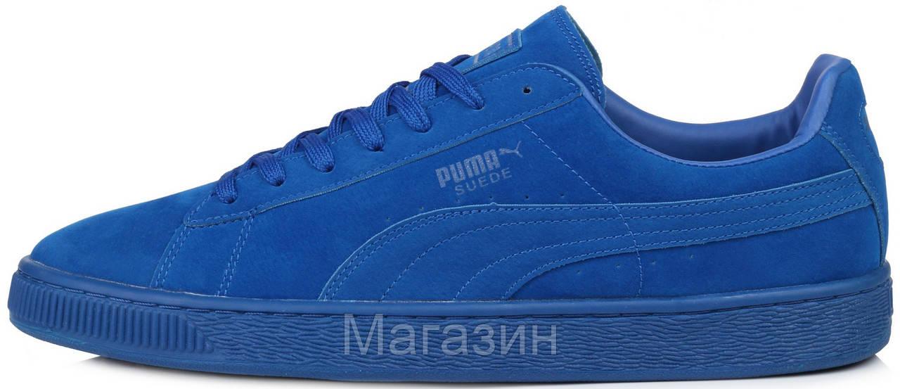 Мужские кроссовки Puma Suede Classic Mono Iced Blue замшевые Пума синие