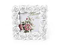 Рамка для фото из искусственного камня Розы белая, размер 10.5*1.5*10.5см