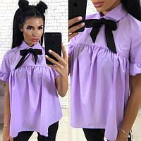 Блуза летняя коттоновая с бантиком (К23863), фото 1