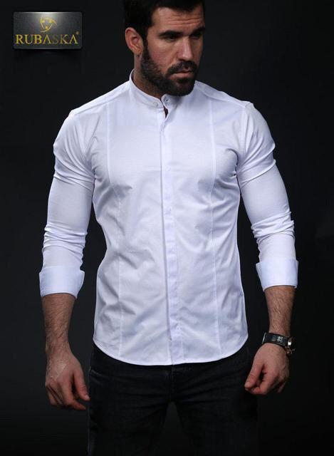 caaaa98bd7b Стильная белая рубашка с длинным рукавом и воротником-стойкой -  Интернет-магазин стильной одежды
