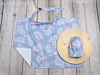 Накидка для кормления + сумочка-чехол, Фламинго с листьями, фото 1