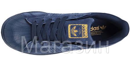 Мужские кроссовки Adidas Superstar Suede Navy Адидас Суперстар синие, фото 2