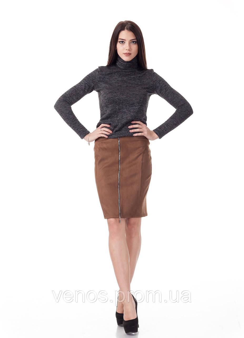 Женская замшевая юбка с молнией. Ю085
