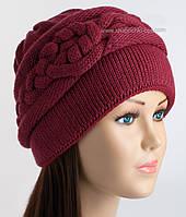 Женская вязаная шапочка Нино бордовая