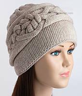 Теплая вязаная шапочка Нино цвет лен