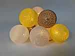 Гирлянды декоративные Cotton Balls 10led, диам 6см, длина 180см на батарейках АА , фото 6