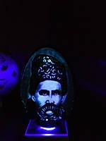 Страусиная скорлупа Эму. Резьба по скорлупе Киев Портрет Т.Г.Шевченко, фото 1