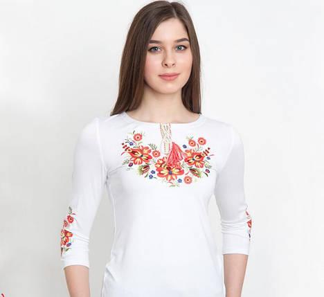 Женская футболка-вышиванка на осень / рукав 3-4 цвет белый / Квіткова / размер 42-58, фото 2