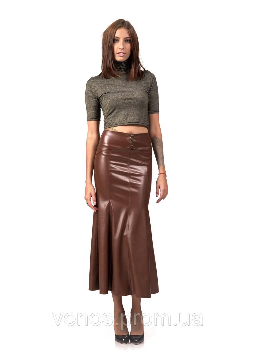 Женская кожанная юбка годе. Ю089