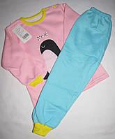 Пижама для девочки теплая (футболка с длинными рукавами +брюки) Linkcar Пингвин 90см Розовая с голубым (06158), фото 1