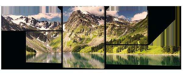 Модульная картина Горы и прекрасный водоем