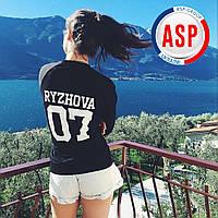 Именной свитшот толстовка кофта с номером 07 именем фамилией ryzhova с печатью белого цвета на заказ