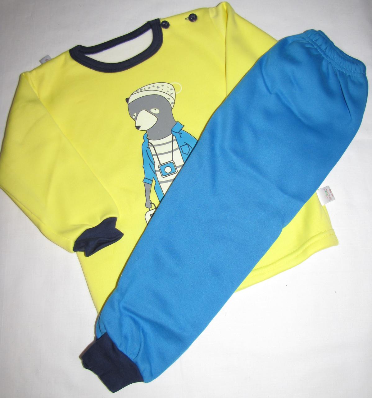 Пижама теплая  футболка с длинными рукавами и штаны Linkcard Медведь рост 100 см желтая+синяя 06161