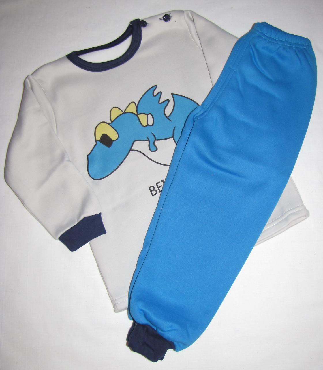 Пижама футболка с длинными рукавами и штаны Linkcard Дракончик рост 100 см белая+синяя 06162