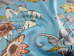 Шелк сатин цветочная композиция, голубой