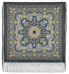 Идиллия 1788-12, павлопосадский платок (шаль) из уплотненной шерсти с шелковой вязанной бахромой