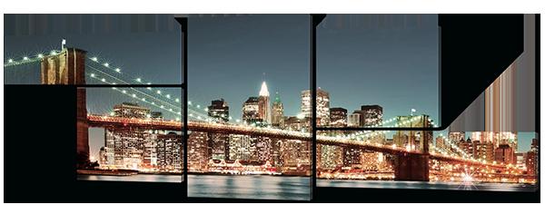 Модульная картина Мост в вечернем городе