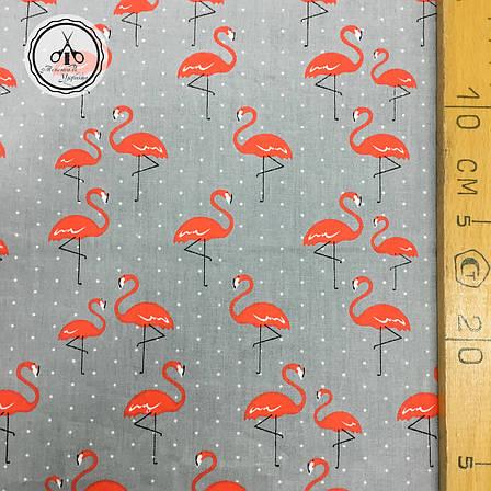 """Сатин """"фламинго розовые на сером"""" 160x50, фото 2"""
