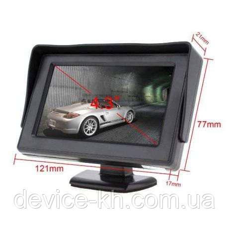 Дисплей LCD 4.3'' для двух камер 043 монитор для камеры заднего вида