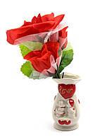 Ваза с букетом цветов (21х9х6 см)
